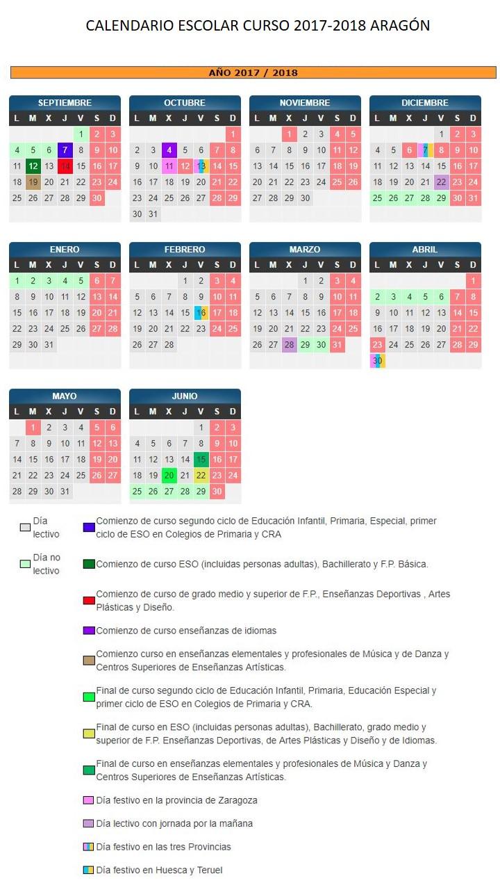 Aragon Calendario Escolar.Calendario Curso Escolar 2017 2018 Efas De Aragon
